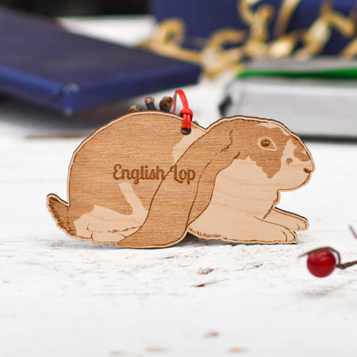 Personalised English Lop Rabbit Decoration