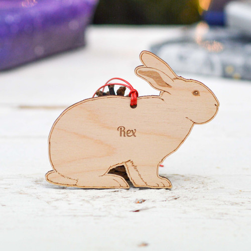 Personalised Rex Rabbit Decoration