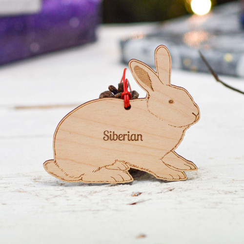 Personalised Siberian Rabbit Decoration
