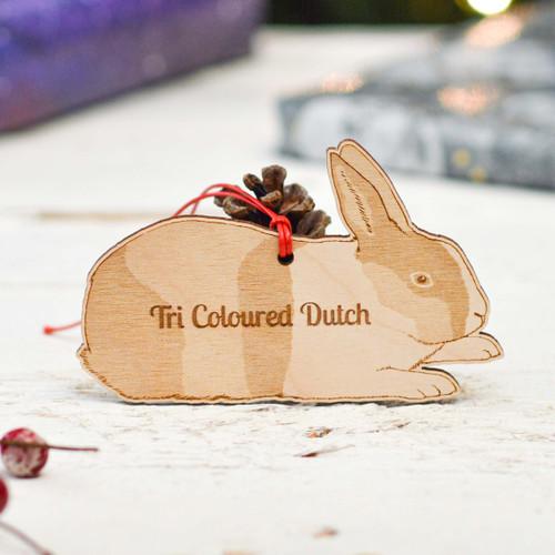Personalised Tri Coloured Dutch Rabbit Decoration