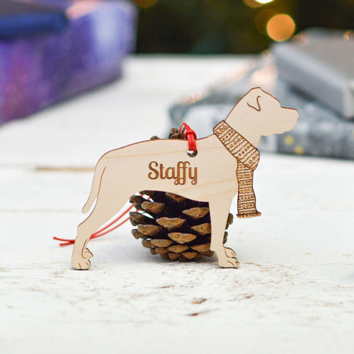 Personalised Staffordshire Bull Terrier Decoration.