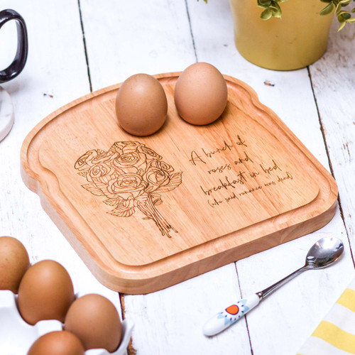 Personalised Breakfast Egg Board - Roses