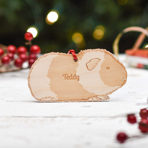 Personalised Teddy Guinea Pig Decoration