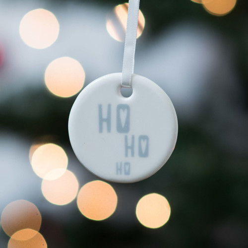 Ho Ho Ho - Ceramic Hanging Decoration - The Crafty Giraffe