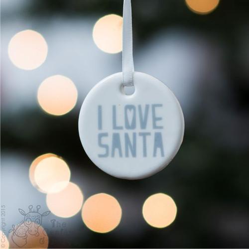 Ceramic 'I Love Santa' Hanging Decoration