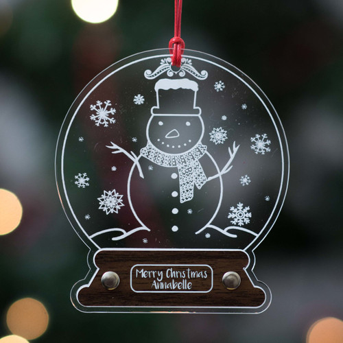 Personalised Snowman Snow Globe Decoration - The Crafty Giraffe