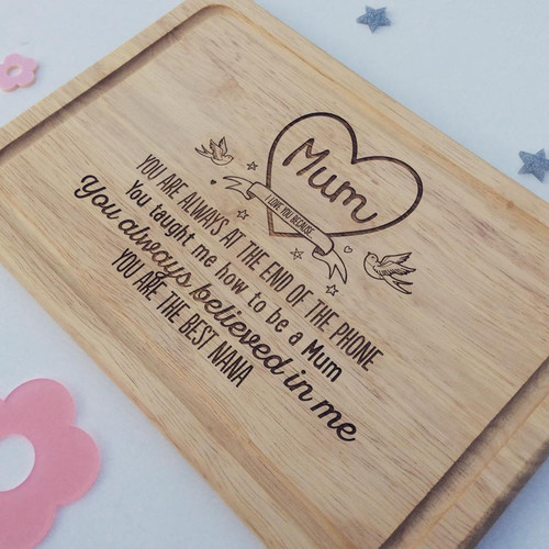 "Personalised ""Mum , I love you because"" Board - The Crafty Giraffe"
