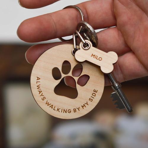 Personalised Always walking by my side paw Keyring