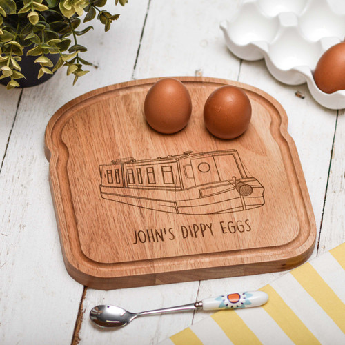Personalised Breakfast Egg Board - Narrowboat