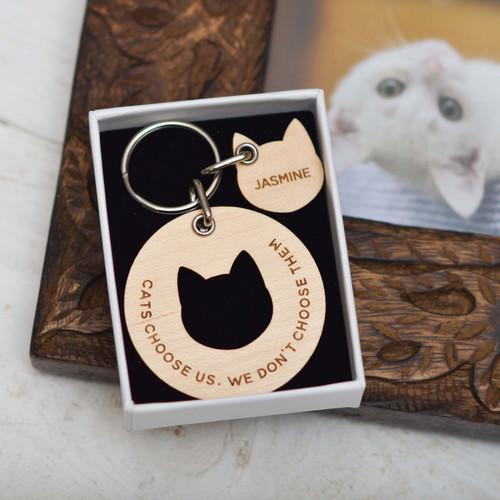 Personalised Cats Choose Us - Cat Keyring