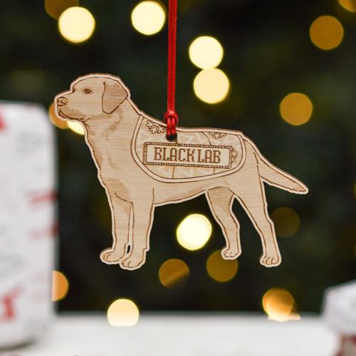 Personalised Black Labrador Dog Decoration - Detailed