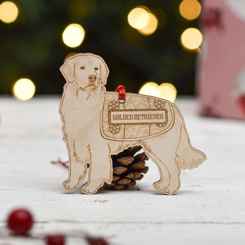 Personalised Golden Retriever Dog Decoration - Detailed