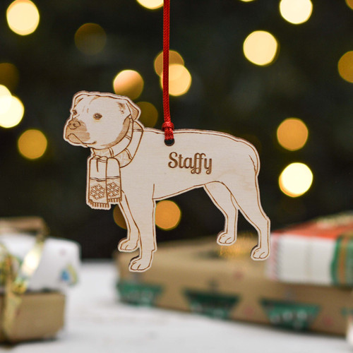 Personalised Staffordshire Bull Terrier Dog Decoration - Detailed