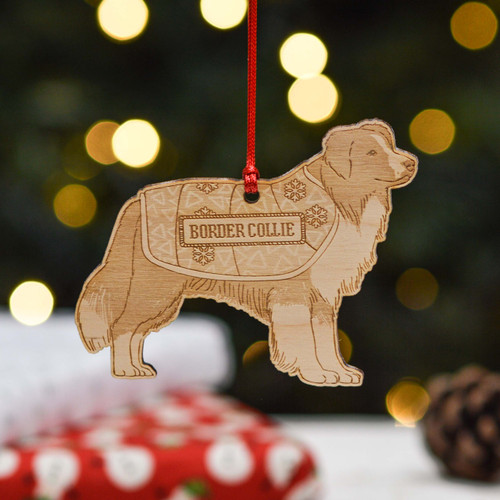 Personalised Border Collie Dog Decoration - Detailed