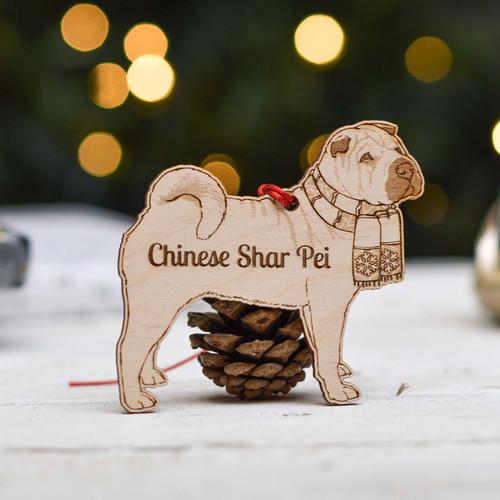 Personalised Chinese Shar Pei Dog Decoration - Detailed
