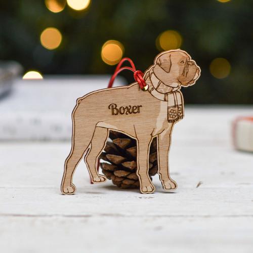 Personalised Boxer Short Tail Dog Decoration - Detailed