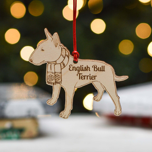 Personalised English Bull Terrier Dog Decoration - Detailed