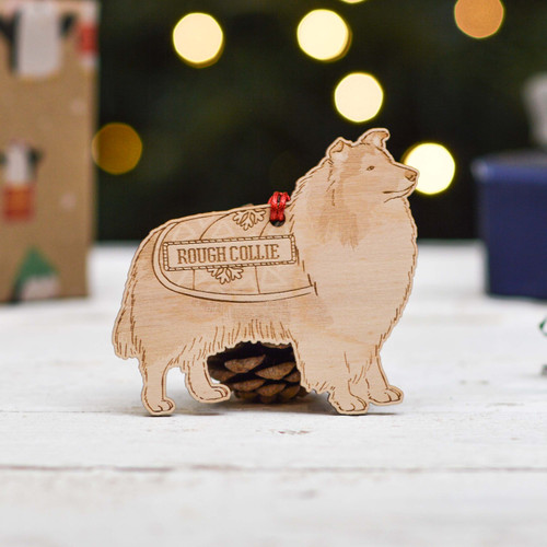 Personalised Rough Collie Dog Decoration - Detailed