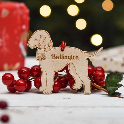 Personalised Bedlington Dog Decoration - Detailed