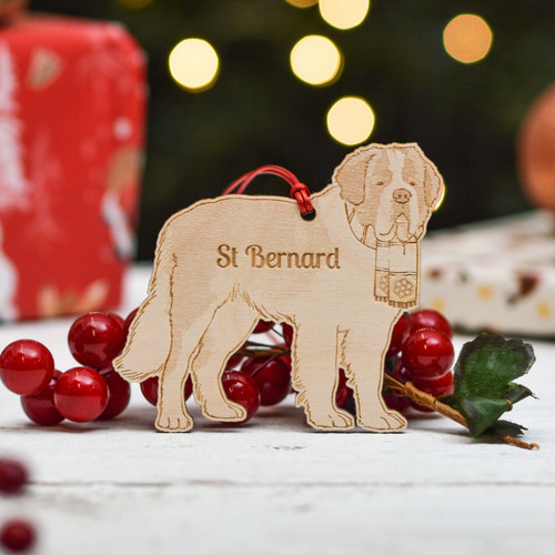 Personalised St Bernard Dog Decoration - Detailed
