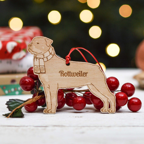 Personalised Rottweiler - Short Tail Dog Decoration - Detailed