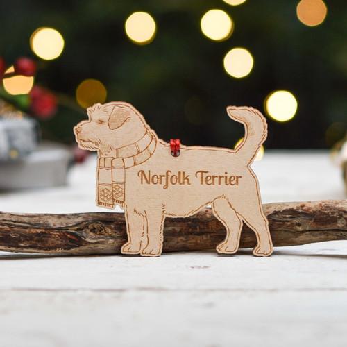 Personalised Norfolk Terrier Dog Decoration - Detailed