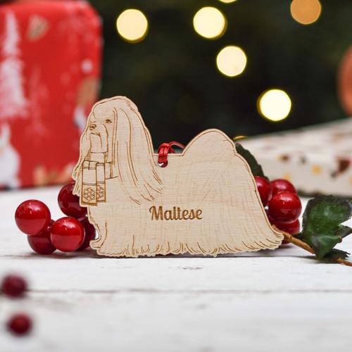 Personalised Maltese Dog Decoration - Detailed