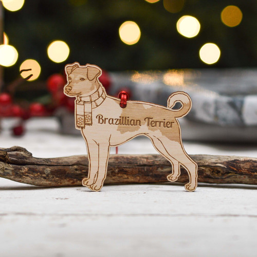 Personalised Brazilian Terrier Dog Decoration - Detailed