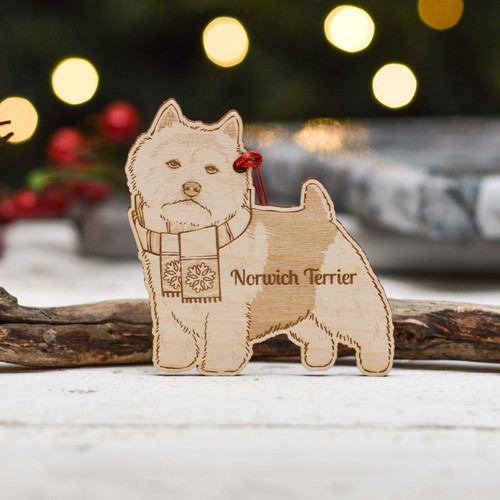 Personalised Norwich Terrier Dog Decoration - Detailed