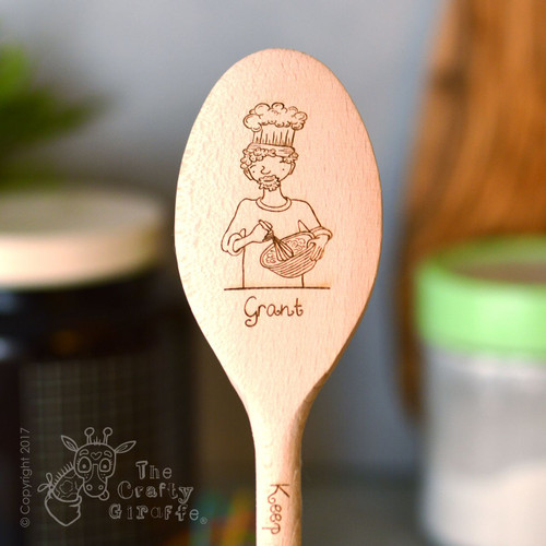 Personalised Character Wooden Spoon - Man