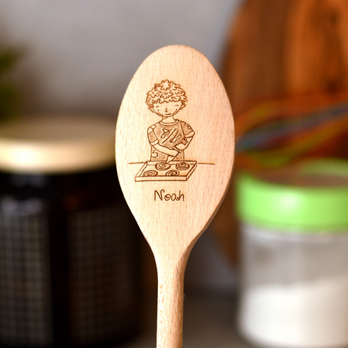Personalised Character Wooden Spoon - Boy