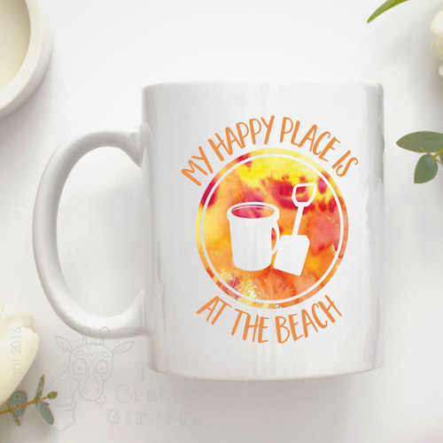 """My happy place is """"at the beach"""" Mug"""