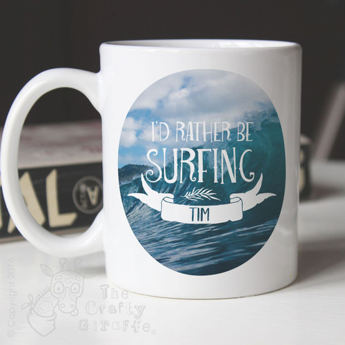 Personalised Mug I'd rather be surfing