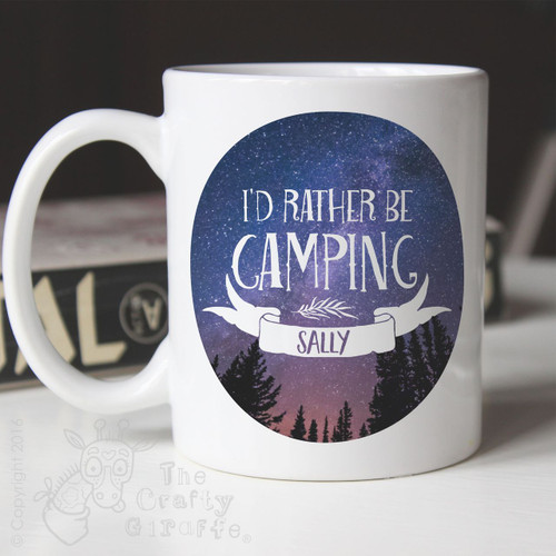 Personalised Mug I'd rather be camping