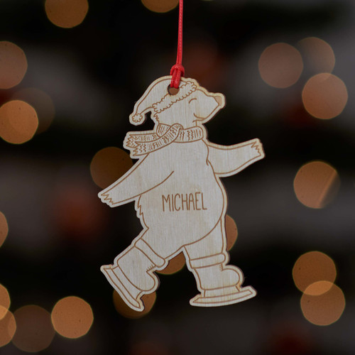 Personalised Ice Skating Polar Bear Decoration. - The Crafty Giraffe