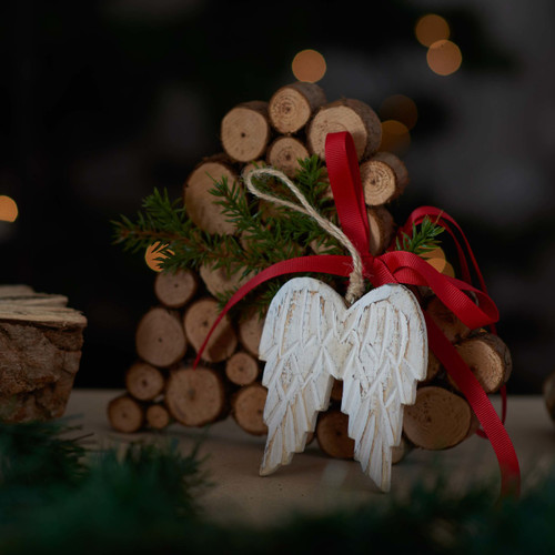 Rustic white wooden Angel Wings hanger
