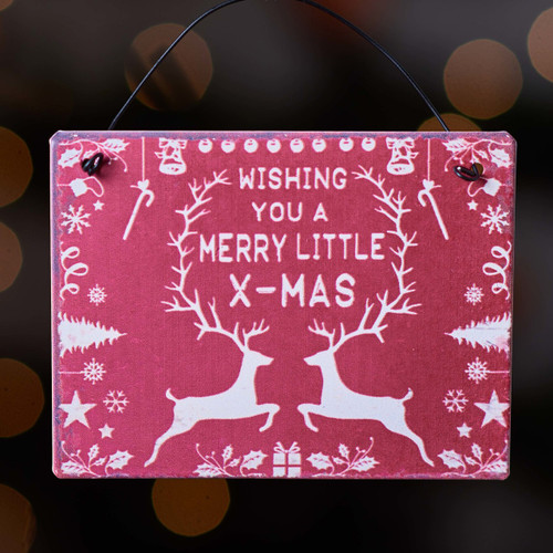 Wishing you a merry little Christmas metal plaque