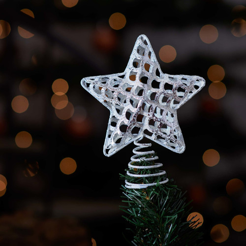 Silver Star metal Tree Topper - The Crafty Giraffe