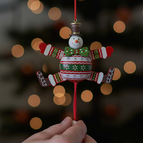 Christmas Green Bow Tie Snowman Jumping Jack