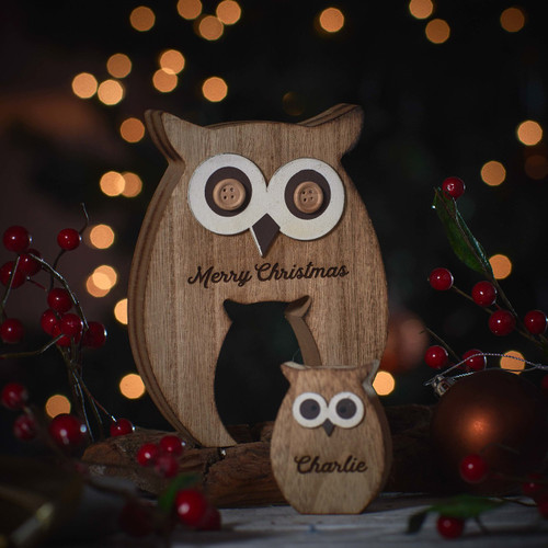 Personalised Standing Wooden Owl