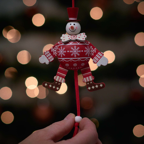 Festive White Bow Tie Snowman Jumping Jack