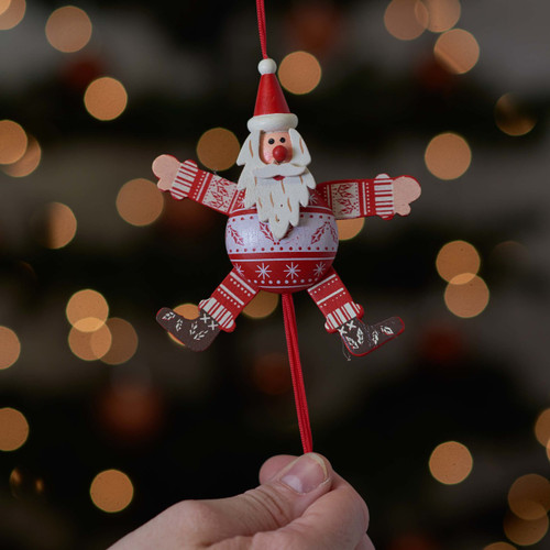 Buy Festive Holly Santa Jumping Jack From The Crafty Giraffe, the home of unique and affordable gifts for loved ones...
