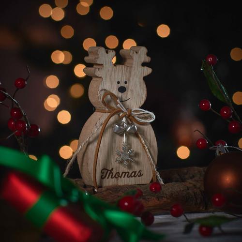 Personalised Snowflake Wooden Standing Reindeer