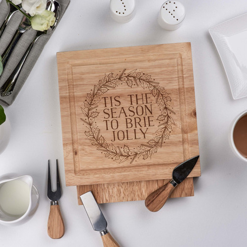 Personalised - Tis the season to brie jolly - board with Knives - The Crafty Giraffe