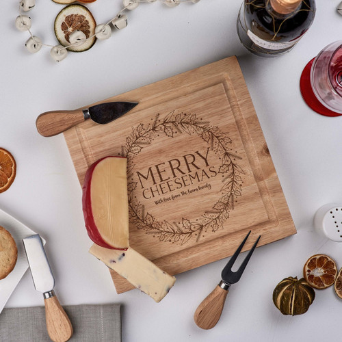Personalised - Merry Cheesemas -  board with Knives - The Crafty Giraffe