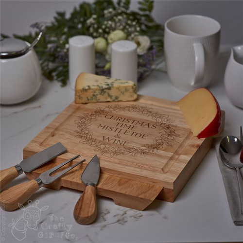 Personalised Mistletoe And Wine Board With Knives