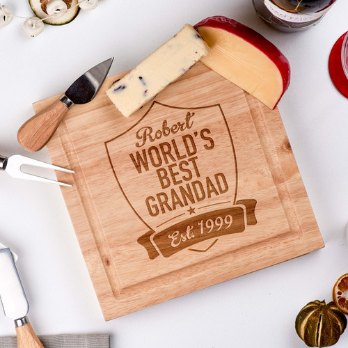 Buy Personalised - World's Best Grandad -  board with Knives From The Crafty Giraffe, the home of unique and affordable gifts for loved ones...