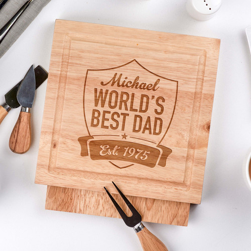 Buy Personalised World's Best Dad -  board with Knives From The Crafty Giraffe, the home of unique and affordable gifts for loved ones...