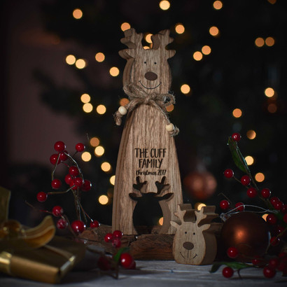 Personalised Standing Wooden Reindeer Decoration The