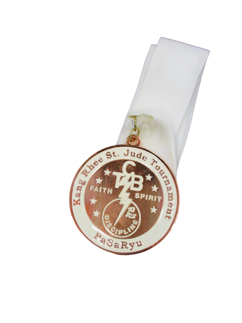 """(Front) """"Kang Rhee St. Jude Tournament"""" [White/Bronze Medal with TCB Logo]"""